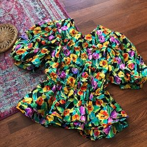 Vintage silk floral balloon sleeve peplum top